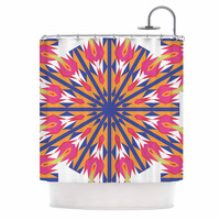 "Miranda Mol ""Modern Dutch Tulips "" Coral Indigo Shower Curtain"