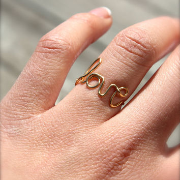 Love Wire Gold Ring