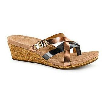 CHEN1ER UGG Australia Women's Adalie Metallic Wedge Sandals - Rose Gold/Pewter