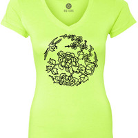 Asian Floral (Black) Women's Short-Sleeve V-Neck T-Shirt