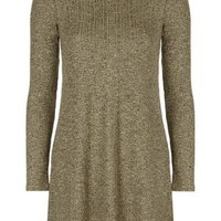 Long Sleeved Flippy Rib Tunic Dress - Camel