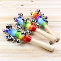 19CM Hand Holder Baby Rattle Rainbow Wooden Baby Toy Bell Ring Newborn Toy Infant Gift for Baby Boy Girl Christmas