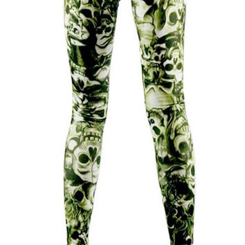 Green Lots of Skulls Leggings Design 10