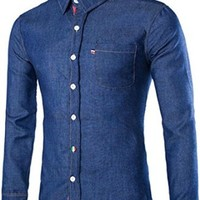 jeansian Men's Fashion Long Sleeves Denim Dress Shirts Tops 8745