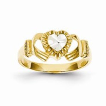 14k Yellow Gold Diamond-Cut & Rhodium Claddagh Ring