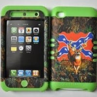2 IN 1 HYBRID LIME GREEN SILICONE+REBEL FLAG DEER CAMO HARD PLASTIC SNAP ON CASE FOR APPLE IPOD TOUCH 4TH GENERATION