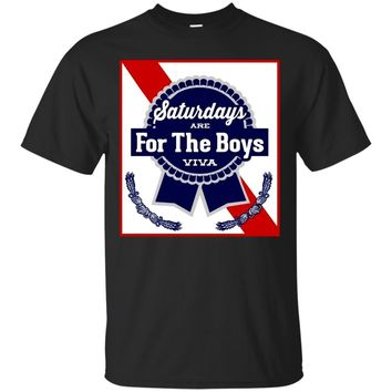 Saturdays Are For The Boys Shirt Blue Beer Ribbon Label Can
