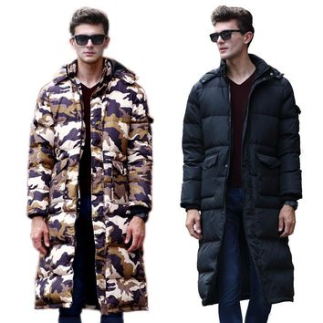 New Arrival Winter Outcoat Long Design Men's 90% White Duck Down Coat Thickening Over-the-knee Jacket Camouflage Down Clothes