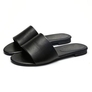 Hot New Summer Basic Women Slippers PU Jelly Color Flat Mule Rubber Non-Slip Playa Slides Home Slipper Simple Casual Beach Shoes