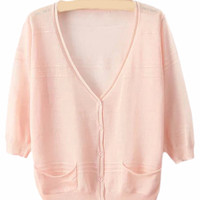 Pink V Neck Pockets Buttons Cardigan Sweater