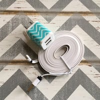New Super Cute Turquoise & White Chevron Designed Wall Dual USB Connector + 10ft Flat White iPhone 5/5s/5c/6/6+ Cable Cord