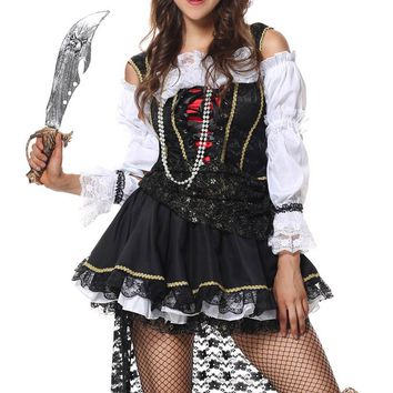 MOONIGHT Pirate Costume Cruel Seas Captain Pirate Cosplay For Women Halloween Fancy Dress+Sleeves+Hat