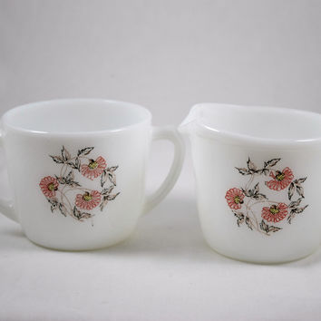 Fire King Fleurette Creamer & Sugar Bowl 1958-61