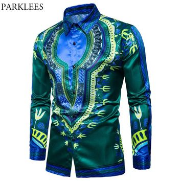 Mens Hipster African Dashiki Dress Shirts 2018 Casual Slim Fit Long Sleeve Shirt Men African Traditional Camisas Para Hombre Xxl