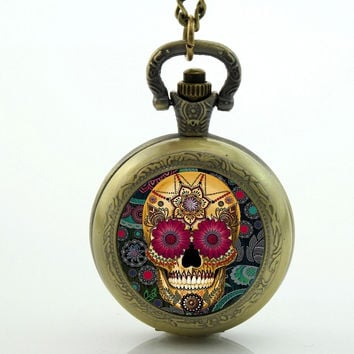Antique bronze vintage Skull pocket watch Necklace skull pocket watch sugar skull necklace