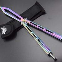 Butterfly Knife, Rainbow Stainless Steel Blunt Training Balisong Practice Dull Pocket Knives Trainer Tool BY T.G mall