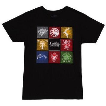 Game Of Thrones 8 Boxed Sigils Title Logo Licensed Adult Unisex T-Shirts - Black