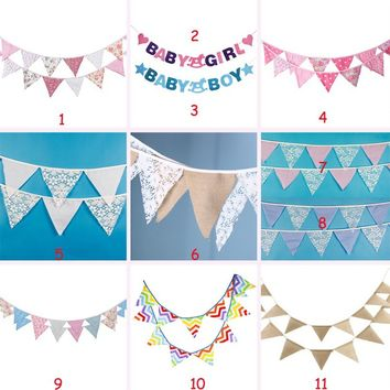 3.2m 12pcs Christmas Decoration Flags Retro Flowers Party Pennant Bunting Banner