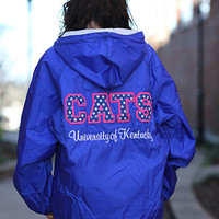University of Kentucky Stitched Letter Rain Jacket with Monogram - UK Ladies Rain Jacket