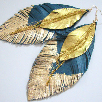Feather Earrings - Leather Feather Jewelry, Leather Earrings,turquoise blue