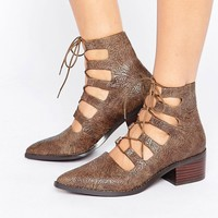 Eeight Winter Cut Out Lace Up Heeled Ankle Boots