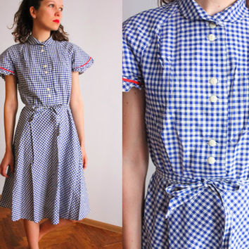NEW Soviet Tea Dress  / Blue Gingham Cotton Peter Pan Collar Summer Dress / Unworn 1970's USSR Mod Midi Check Dress, New Old Stock Size: S