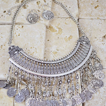 Boho Chic Bohemian Coin Fringe Bib Necklace Earrings Set Silver or Gold