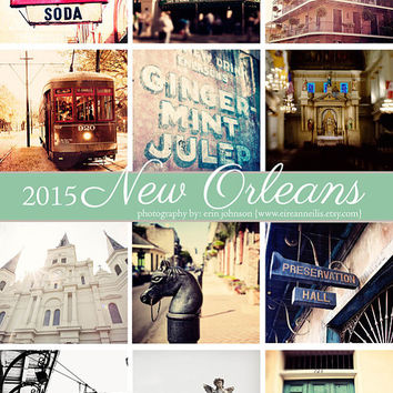 2015 desk calendar - 2015 new orleans calendar, 5x7 looseleaf calendar, fine art photography , french quarter, travel photography calendar