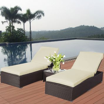 3 PCS Wicker Rattan Chaise Lounge Chair Set Patio Steel Furniture Brown
