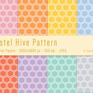 8 Pastel Bee Hive Wrapping Paper Digital Patterns Backgrounds - 300 dpi - JPEG - 3600x3600px