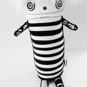 LARGE Black and White Stripe Cute Kawaii Plushie Art Doll Soft Sculpture - Ooak polkadottydoll Panda - FREE Shipping (Canada & US)
