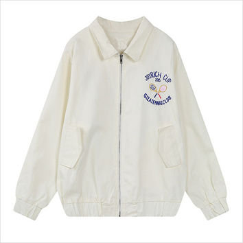 White Graphic Back Embroidery Zip Jacket