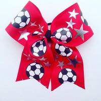 Soccer-Hair-Accessories-Bow-Handmade-Girls-Teens-Team-Mom-Ribbon-Red-Gifts for Her-Cheer