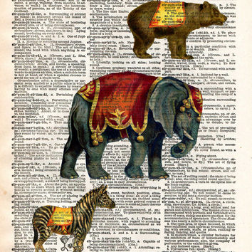 Childrens room art print, circus animals, elephant, bear, zebra vintage dictionary page art print