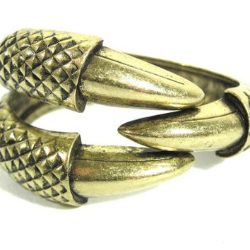 Claw Cuff Hinged Dragon Eagle Talon Bangle BA08 Gold Tone Vintage Bracelet Fashion Jewelry