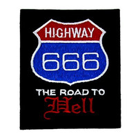 Highway 666 Patch Road to Hell Iron On Applique