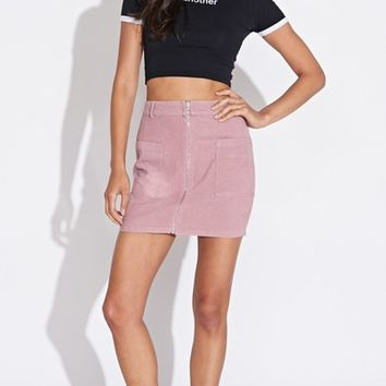 Zipping It Corduroy Front Zip High Waist Bodycon Mini Skirt - Sold Out