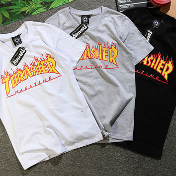 Thrasher Woman Men Casual Print Scoop Neck Tunic Shirt Top Blouse