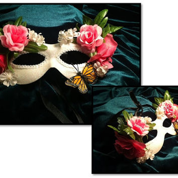 Fantasy Butterfly Kisses Masquerade. Costume Ball Mask. White Mask, Pink Roses, Butterfly. Mardi Gras Mask. Theme wedding. Prom Masquerade.