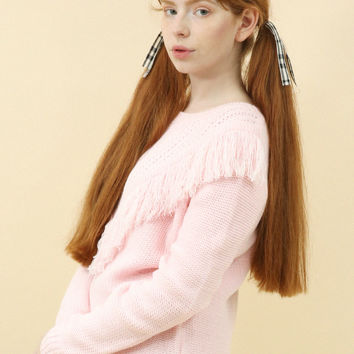 Limited Edition: Chunky Knit Fringe Jumper Pink