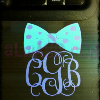 Preppy Polka Dot Bow vinyl Monogram Decal