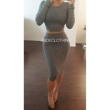 Gaby Grey Ribbed 2 Piece Outfit - Jaide Clothing