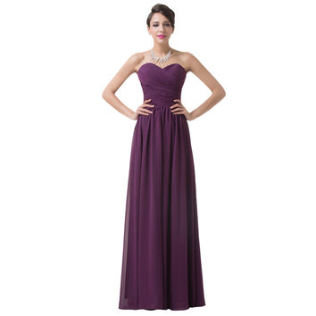 Real Picture Design Wedding Party Dress Floor Length Chiffon Long Bandage Prom Dress Cheap Purple Bridesmaid dresses 2017 6273