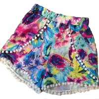 xhorizon TM KZ4 FLK High Waisted Tassel Floral Tribal Beach Casual Shorts Pants (L, #2)