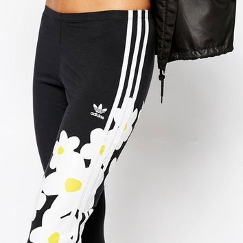 adidas Originals Big Floral Print Three Stripe Leggings