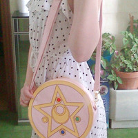 Super Cute Pink Sailor Moon Transformation PU Leather Bag Shoulder Bag Free Shipping SP130169
