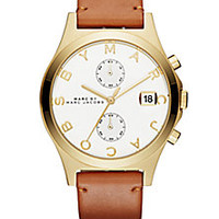 Marc by Marc Jacobs - Slim Chrono Goldtone Stainless Steel & Leather Strap Chronograph Watch/Cognac - Saks Fifth Avenue Mobile