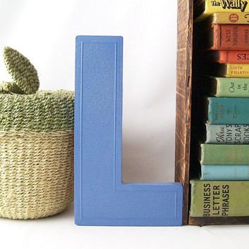 blue letter L vintage marquee sign upcycled painted business signage industrial modern wall hanging home decor initial personalized