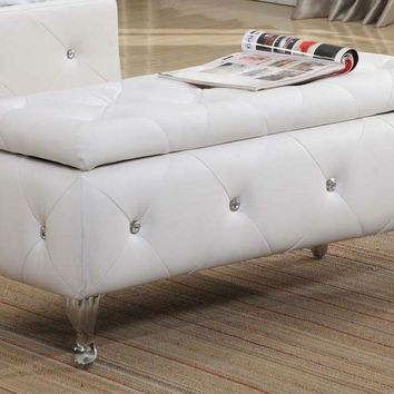 White Leather Bench With Chrome Feet And Storage Has An Elegant Look
