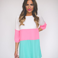 Ivory/Pink/Mint Shift Dress